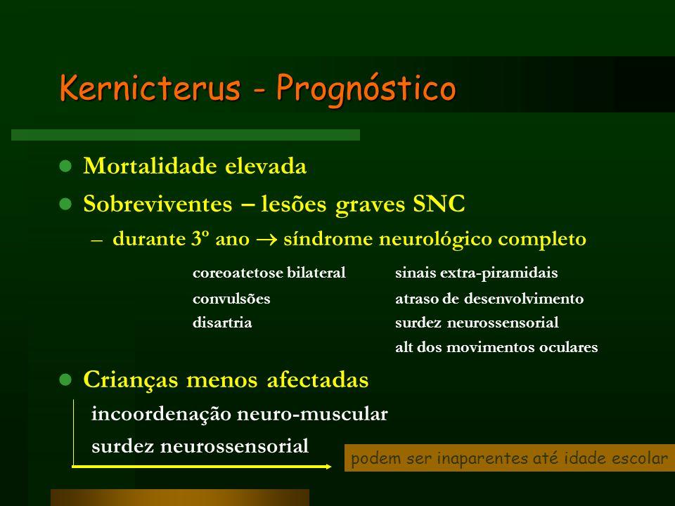 Kernicterus - Prognóstico Mortalidade elevada Sobreviventes – lesões graves SNC –durante 3º ano síndrome neurológico completo coreoatetose bilateral s