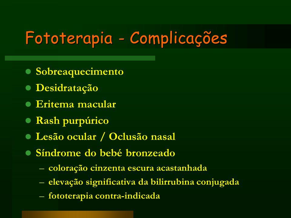 Fototerapia - Complicações Sobreaquecimento Desidratação Eritema macular Rash purpúrico Lesão ocular / Oclusão nasal Síndrome do bebé bronzeado –color