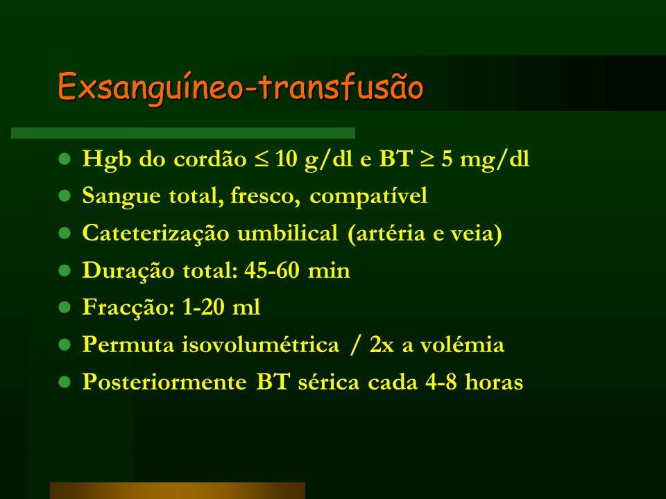 Exsanguíneo-transfusão Hgb do cordão 10 g/dl e BT 5 mg/dl Sangue total, fresco, compatível Cateterização umbilical (artéria e veia) Duração total: 45-