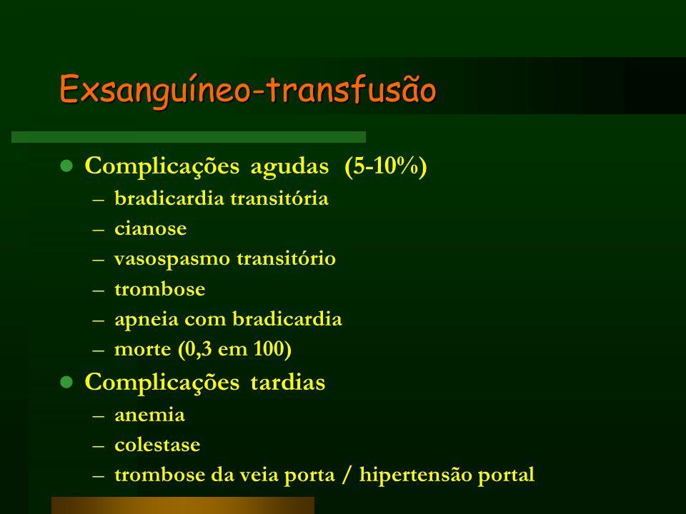 Exsanguíneo-transfusão Complicações agudas (5-10%) –bradicardia transitória –cianose –vasospasmo transitório –trombose –apneia com bradicardia –morte