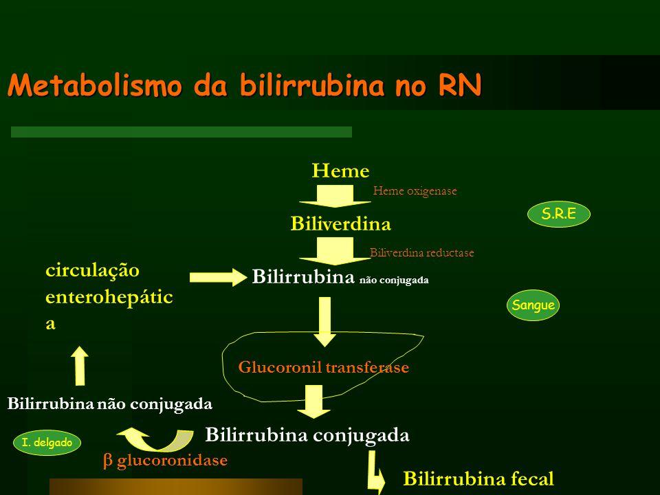 Causas de hiperbilirrubinemia não conjugada Produção excessiva de bilirrubina (hemólise) –Sangue extravascular (bossas, cefalohematomas,…) –Incompatibilidade de grupo sanguíneo (Rh, ABO, grupos minor) –Anomalias enzimáticas GR (glicose-6-fosfato desidrogenase / piruvatokinase,…) –Sépsis –Hemoglobinopatias (talassemia,…) –Deficiência da membrana GR (esferocitose hereditária, eliptocitose, poiquilocitose,…) –Policitemia (transfusão fetal ou maternofetal, laqueação tardia do cordão,…)