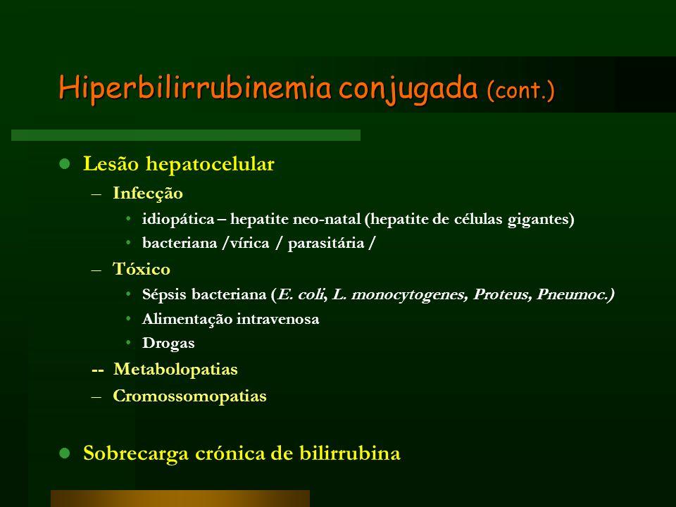 Hiperbilirrubinemia conjugada (cont.) Lesão hepatocelular –Infecção idiopática – hepatite neo-natal (hepatite de células gigantes) bacteriana /vírica