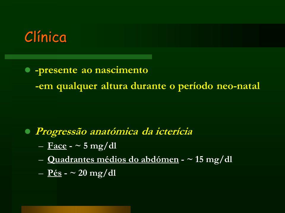 Clínica -presente ao nascimento -em qualquer altura durante o período neo-natal Progressão anatómica da icterícia –Face - ~ 5 mg/dl –Quadrantes médios