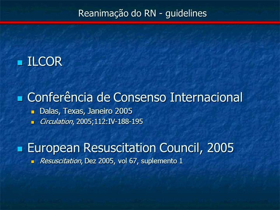 Reanimação do RN – D - adrenalina 1ª droga escolhida, excepto se hipovolemia ou depressão por narcóticos 1:10 000 (0.1 mg=100µg/ml).