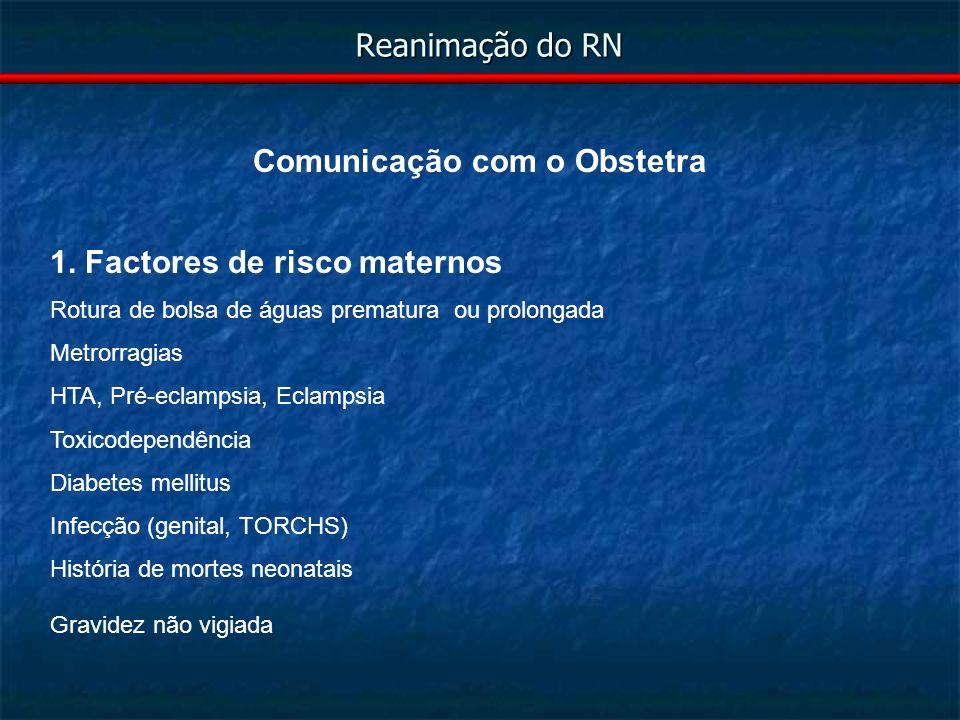 Reanimação do RN Comunicação com o Obstetra 2.