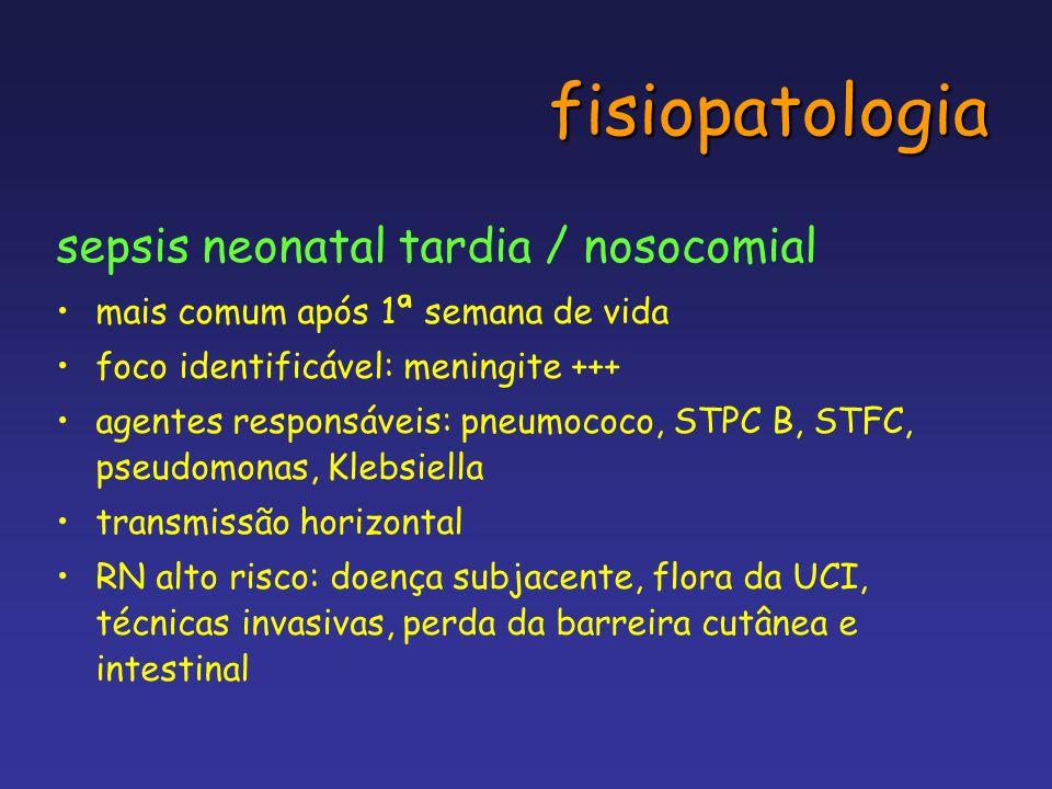 fisiopatologia sepsis neonatal tardia / nosocomial mais comum após 1ª semana de vida foco identificável: meningite +++ agentes responsáveis: pneumococ