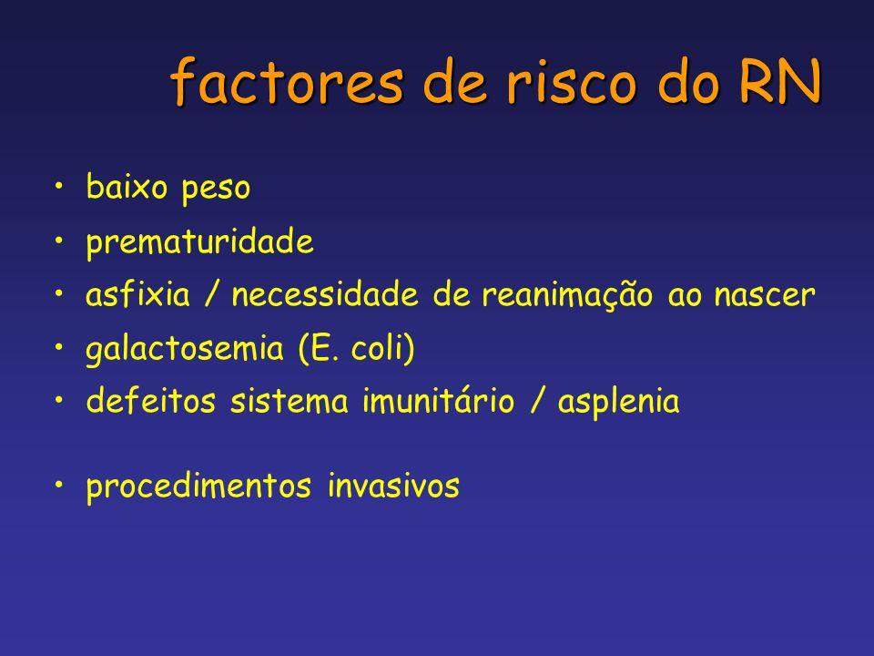 factores de risco do RN baixo peso prematuridade asfixia / necessidade de reanimação ao nascer galactosemia (E. coli) defeitos sistema imunitário / as