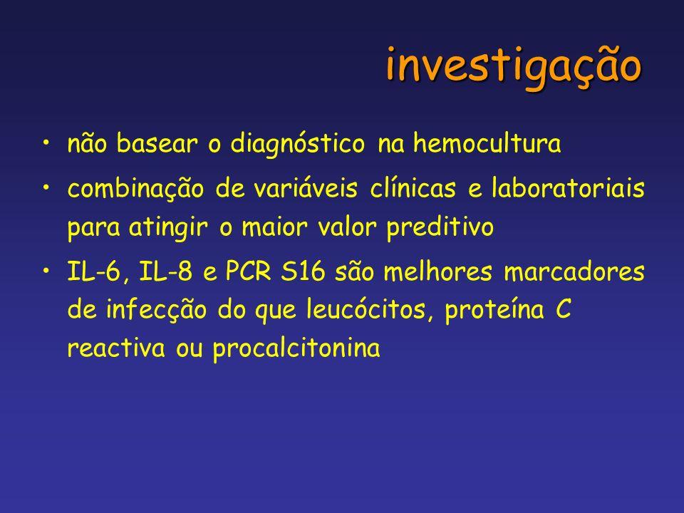 investigação não basear o diagnóstico na hemocultura combinação de variáveis clínicas e laboratoriais para atingir o maior valor preditivo IL-6, IL-8