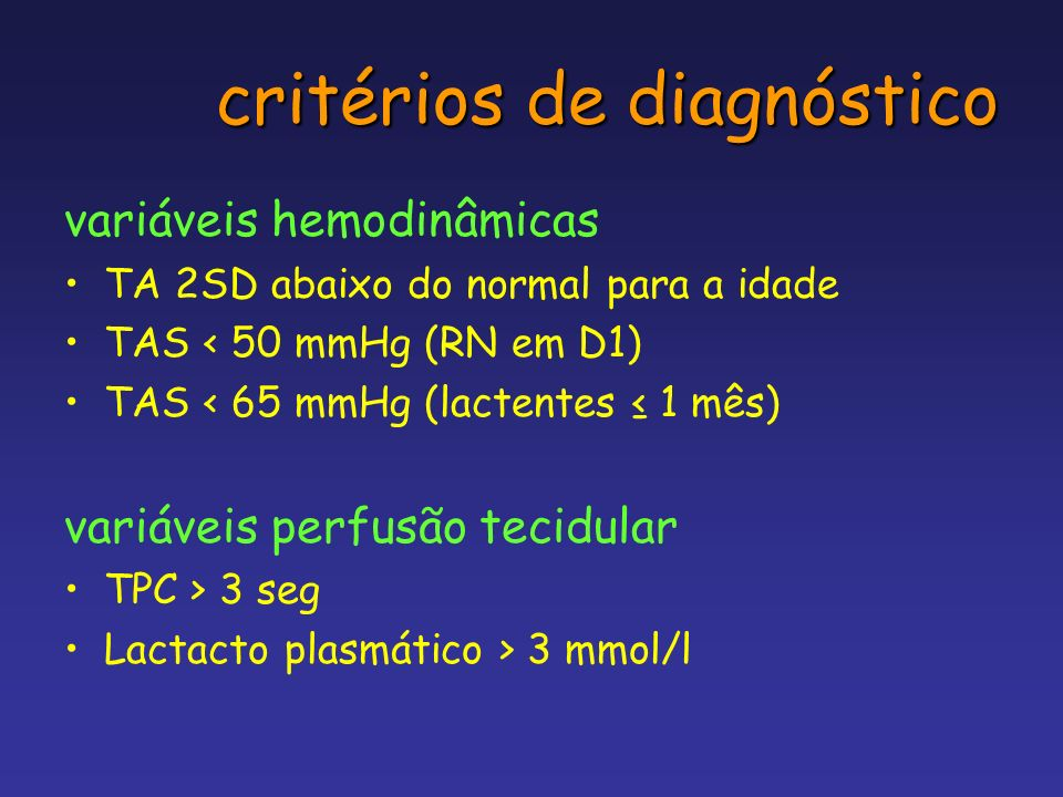 critérios de diagnóstico variáveis hemodinâmicas TA 2SD abaixo do normal para a idade TAS < 50 mmHg (RN em D1) TAS < 65 mmHg (lactentes 1 mês) variáve