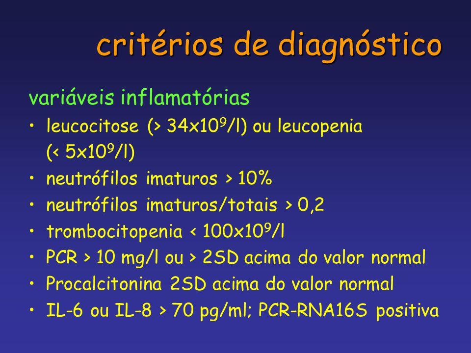 critérios de diagnóstico variáveis inflamatórias leucocitose (> 34x10 9 /l) ou leucopenia (< 5x10 9 /l) neutrófilos imaturos > 10% neutrófilos imaturo