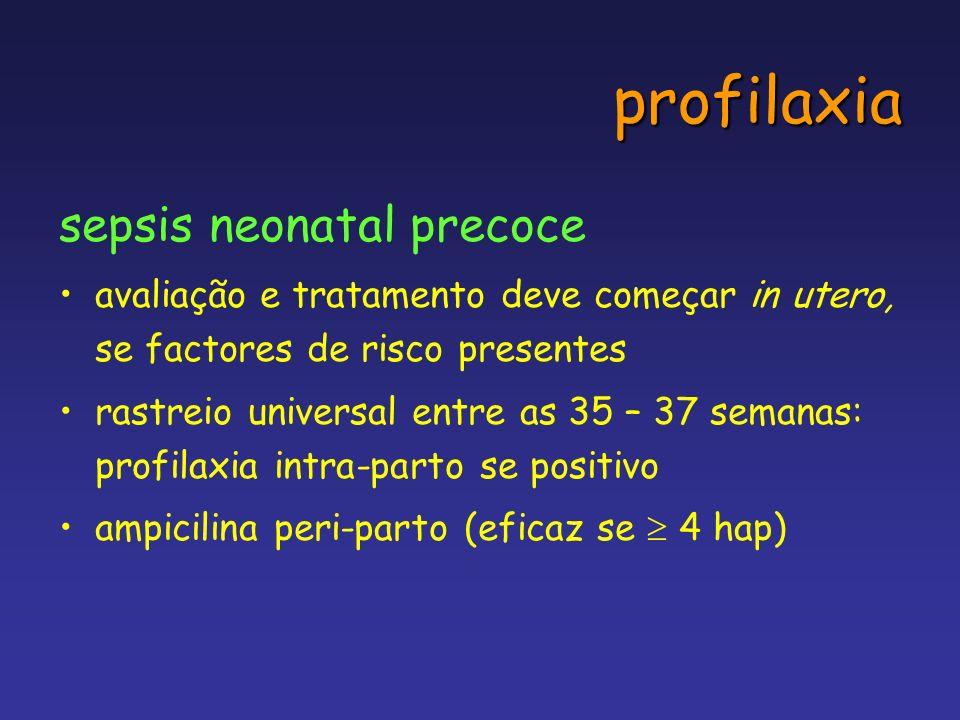 profilaxia sepsis neonatal precoce avaliação e tratamento deve começar in utero, se factores de risco presentes rastreio universal entre as 35 – 37 se