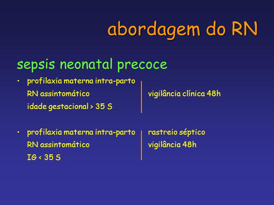 abordagem do RN sepsis neonatal precoce profilaxia materna intra-parto RN assintomáticovigilância clínica 48h idade gestacional > 35 S profilaxia mate