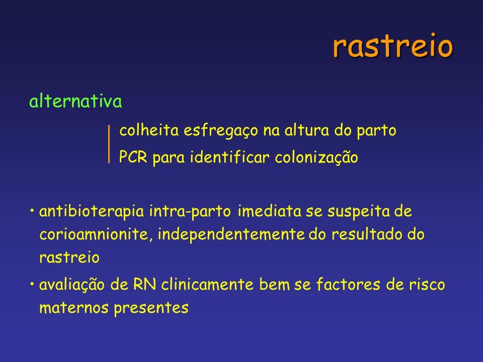 rastreio alternativa colheita esfregaço na altura do parto PCR para identificar colonização antibioterapia intra-parto imediata se suspeita de corioam