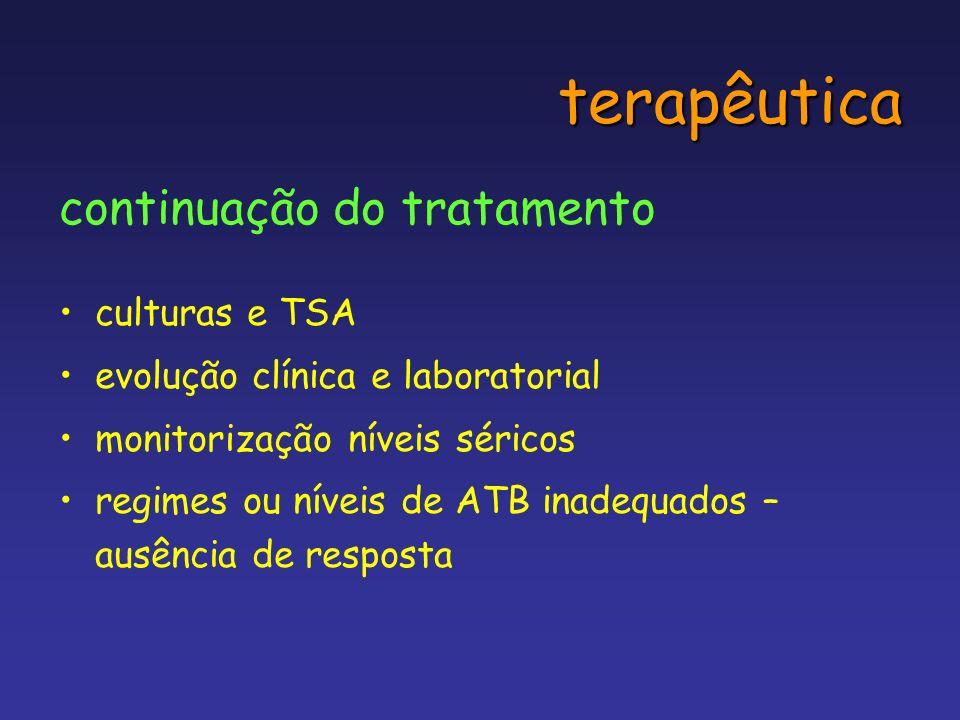 terapêutica continuação do tratamento culturas e TSA evolução clínica e laboratorial monitorização níveis séricos regimes ou níveis de ATB inadequados