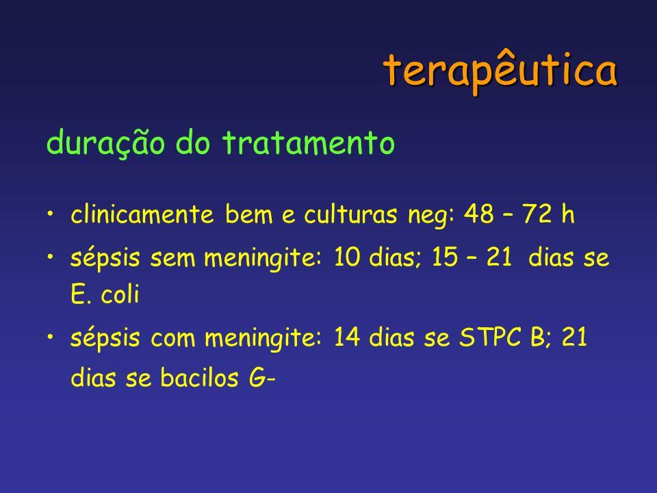 terapêutica duração do tratamento clinicamente bem e culturas neg: 48 – 72 h sépsis sem meningite: 10 dias; 15 – 21 dias se E. coli sépsis com meningi