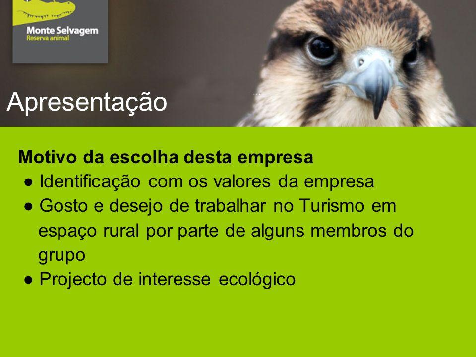 Apresentação Motivo da escolha desta empresa Identificação com os valores da empresa Gosto e desejo de trabalhar no Turismo em espaço rural por parte de alguns membros do grupo Projecto de interesse ecológico