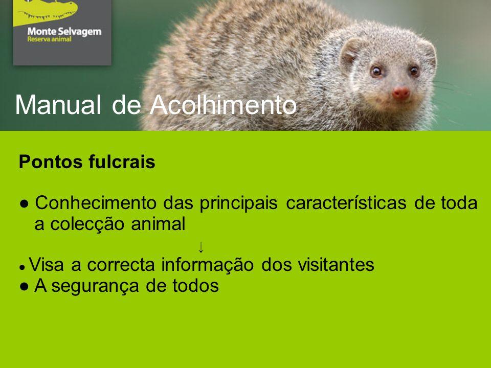 Manual de Acolhimento Pontos fulcrais Conhecimento das principais características de toda a colecção animal Visa a correcta informação dos visitantes