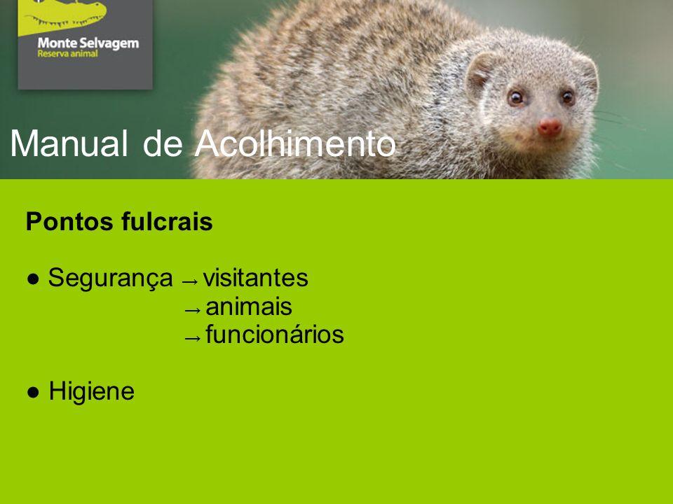 Manual de Acolhimento Pontos fulcrais Segurança visitantes animais funcionários Higiene