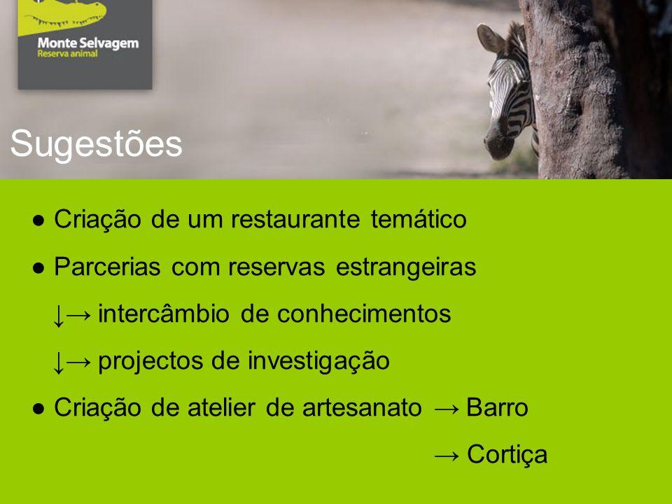 Sugestões Criação de um restaurante temático Parcerias com reservas estrangeiras intercâmbio de conhecimentos projectos de investigação Criação de atelier de artesanato Barro Cortiça