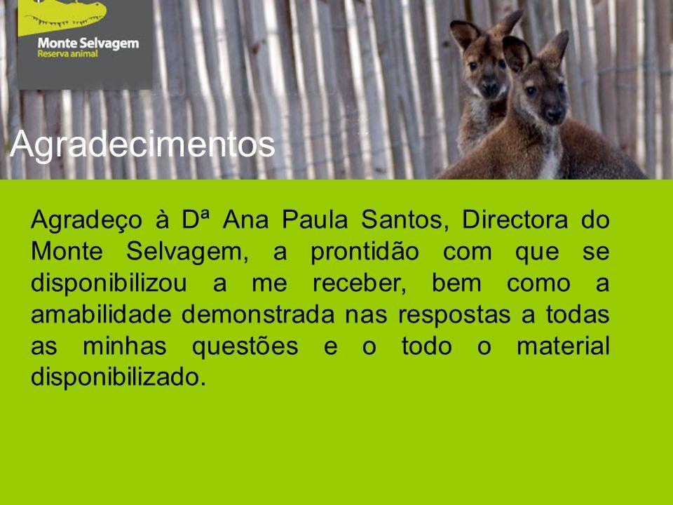 Agradecimentos Agradeço à Dª Ana Paula Santos, Directora do Monte Selvagem, a prontidão com que se disponibilizou a me receber, bem como a amabilidade demonstrada nas respostas a todas as minhas questões e o todo o material disponibilizado.