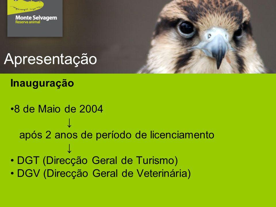 Apresentação Inauguração 8 de Maio de 2004 após 2 anos de período de licenciamento DGT (Direcção Geral de Turismo) DGV (Direcção Geral de Veterinária)