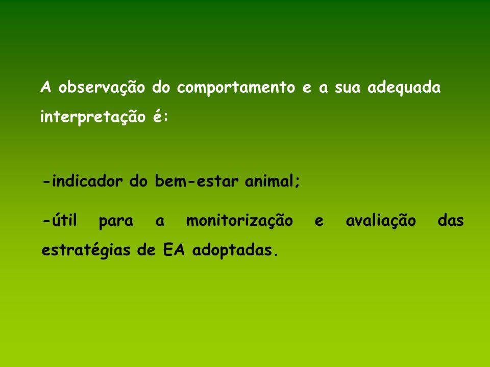 A observação do comportamento e a sua adequada interpretação é: -indicador do bem-estar animal; -útil para a monitorização e avaliação das estratégias
