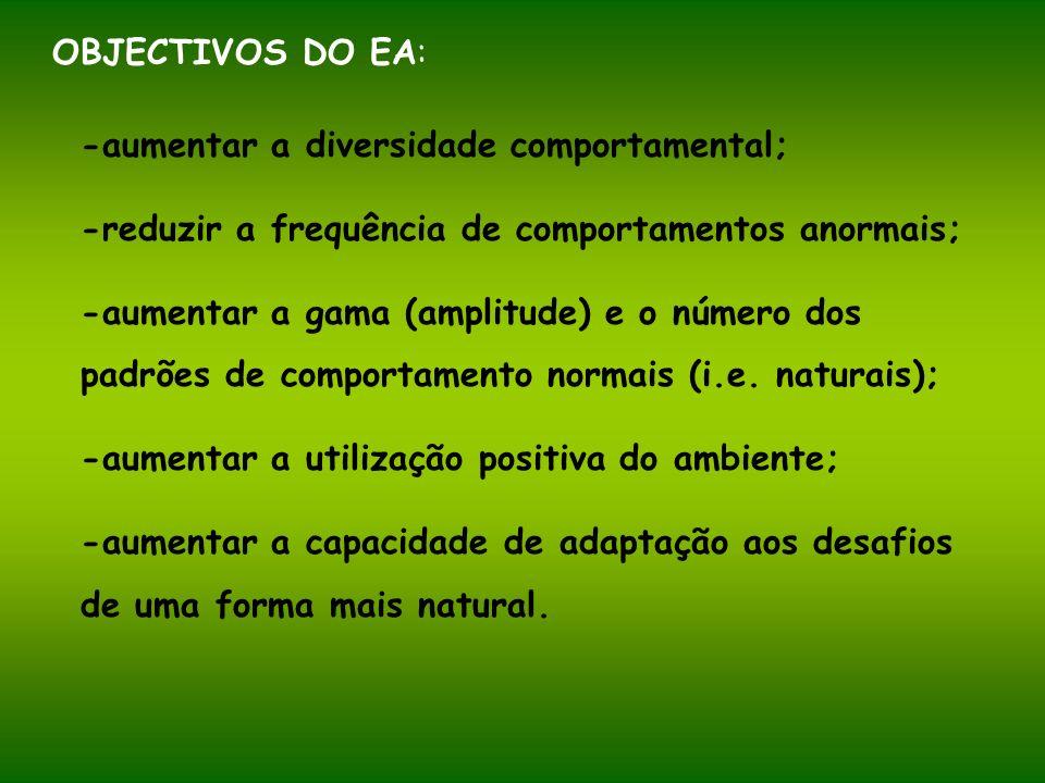 OBJECTIVOS DO EA: -aumentar a diversidade comportamental; -reduzir a frequência de comportamentos anormais; -aumentar a gama (amplitude) e o número do