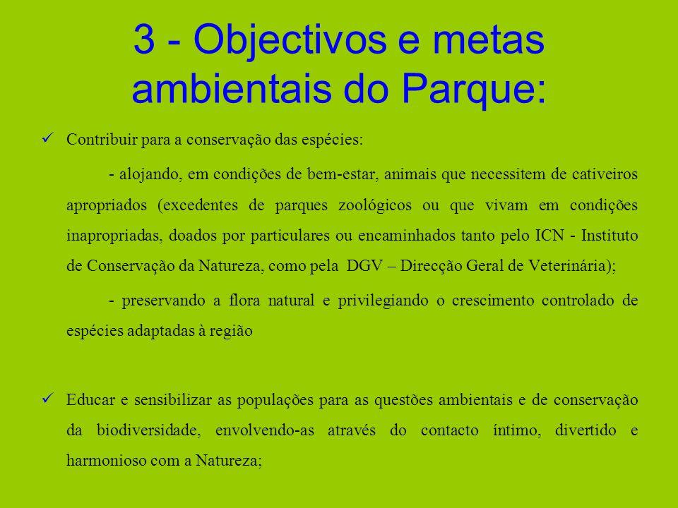 3 - Objectivos e metas ambientais do Parque: Contribuir para a conservação das espécies: - alojando, em condições de bem-estar, animais que necessitem
