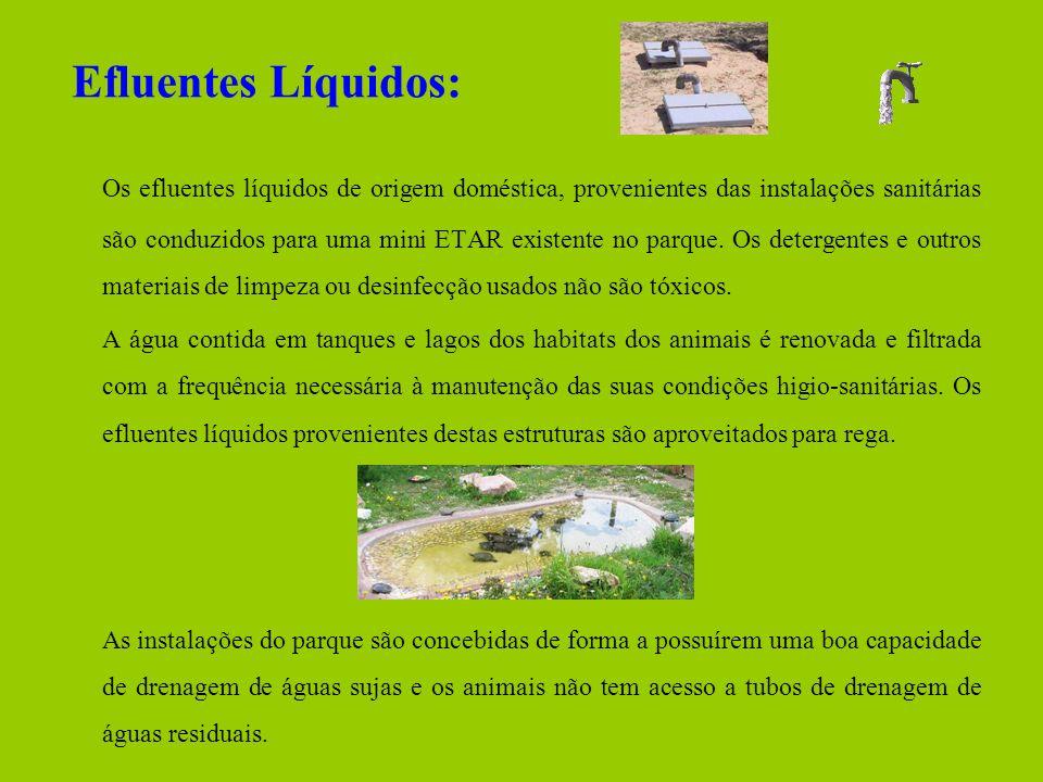 Efluentes Líquidos: Os efluentes líquidos de origem doméstica, provenientes das instalações sanitárias são conduzidos para uma mini ETAR existente no