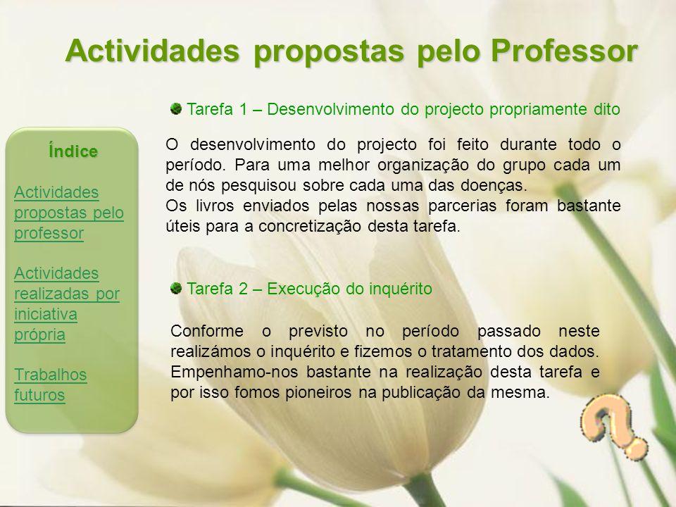 Actividades propostas pelo Professor Tarefa 1 – Desenvolvimento do projecto propriamente dito O desenvolvimento do projecto foi feito durante todo o período.