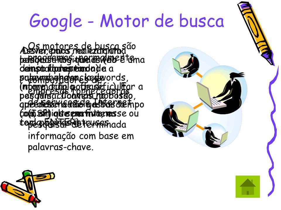 Google - Motor de busca Os motores de busca são programas, normalmente instalados em computadores de empresas fornecedoras de serviços de Internet (IS