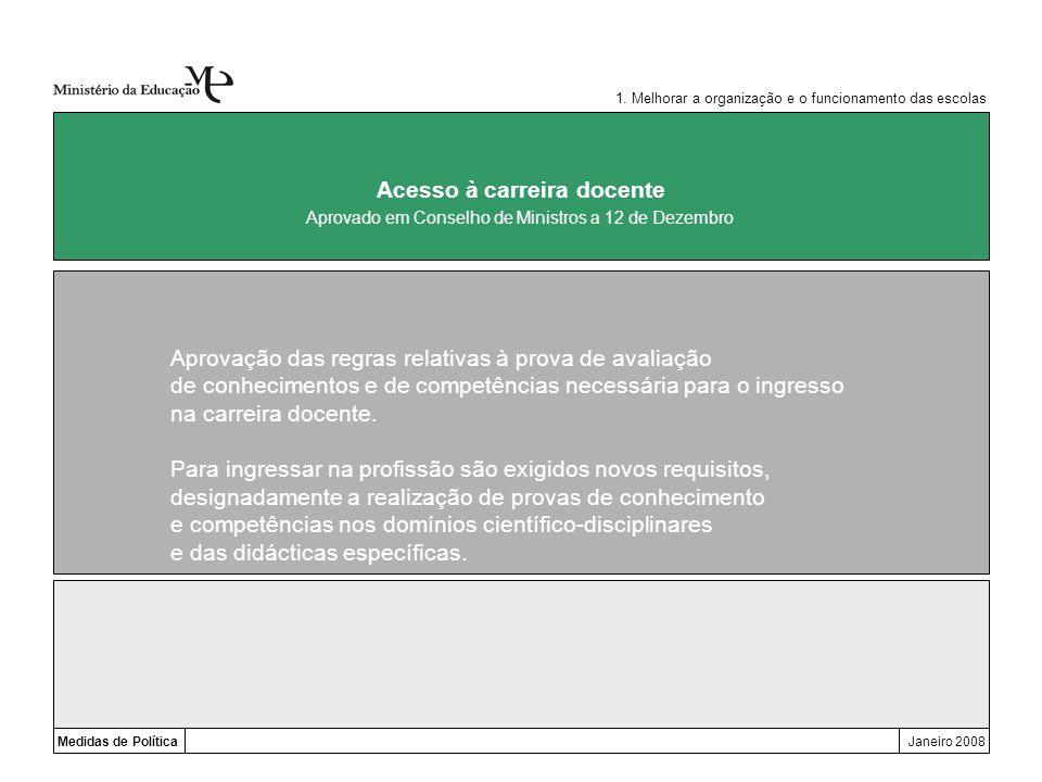 Medidas de PolíticaJaneiro 2008 Acesso à carreira docente Aprovação das regras relativas à prova de avaliação de conhecimentos e de competências neces
