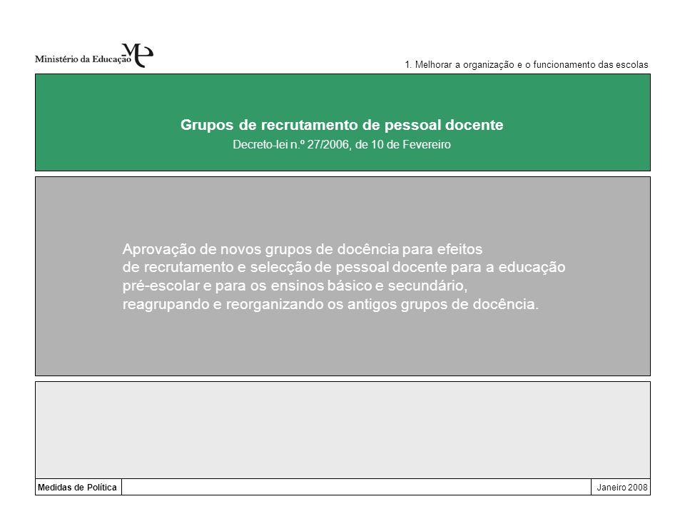 Medidas de PolíticaJaneiro 2008 Grupos de recrutamento de pessoal docente Aprovação de novos grupos de docência para efeitos de recrutamento e selecçã