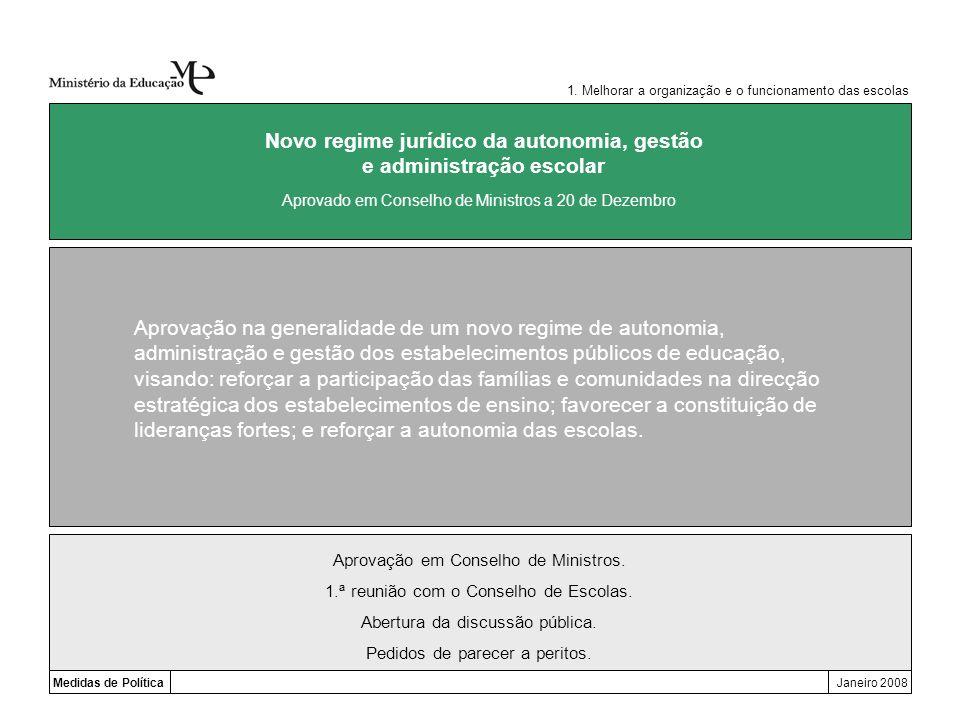 Medidas de PolíticaJaneiro 2008 Novo regime jurídico da autonomia, gestão e administração escolar Aprovação na generalidade de um novo regime de auton