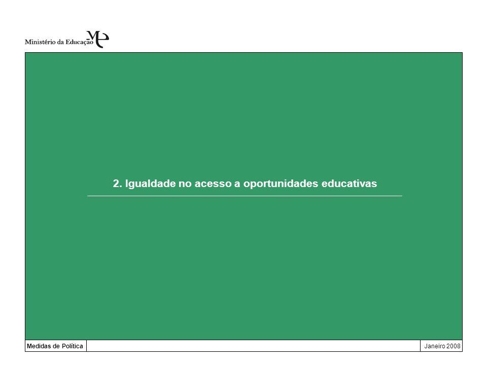 2. Igualdade no acesso a oportunidades educativas Medidas de PolíticaJaneiro 2008