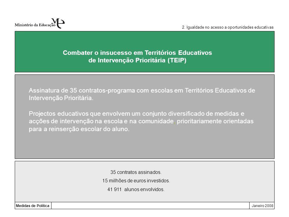 Medidas de PolíticaJaneiro 2008 Combater o insucesso em Territórios Educativos de Intervenção Prioritária (TEIP) Assinatura de 35 contratos-programa c