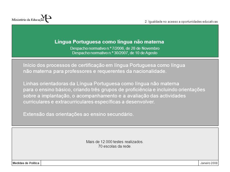 Mais de 12.000 testes realizados. 70 escolas da rede. Medidas de PolíticaJaneiro 2008 Língua Portuguesa como língua não materna Início dos processos d