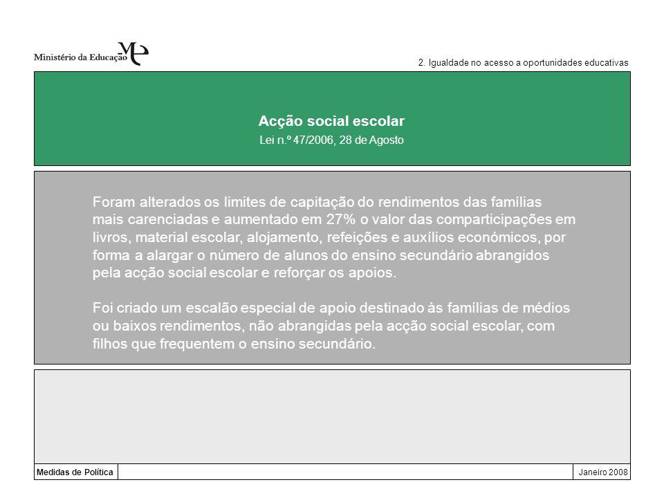 Medidas de PolíticaJaneiro 2008 Acção social escolar Foram alterados os limites de capitação do rendimentos das famílias mais carenciadas e aumentado