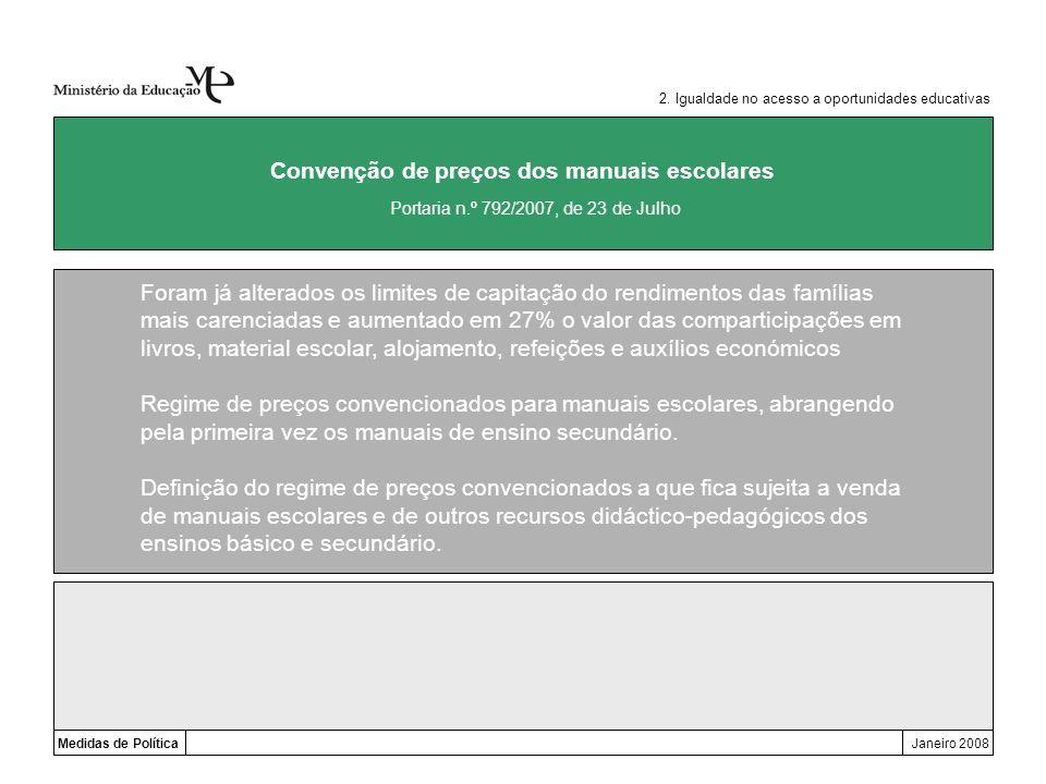 Medidas de PolíticaJaneiro 2008 Convenção de preços dos manuais escolares Foram já alterados os limites de capitação do rendimentos das famílias mais