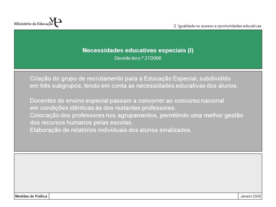 Medidas de PolíticaJaneiro 2008 Necessidades educativas especiais (I) Criação do grupo de recrutamento para a Educação Especial, subdividido em três s