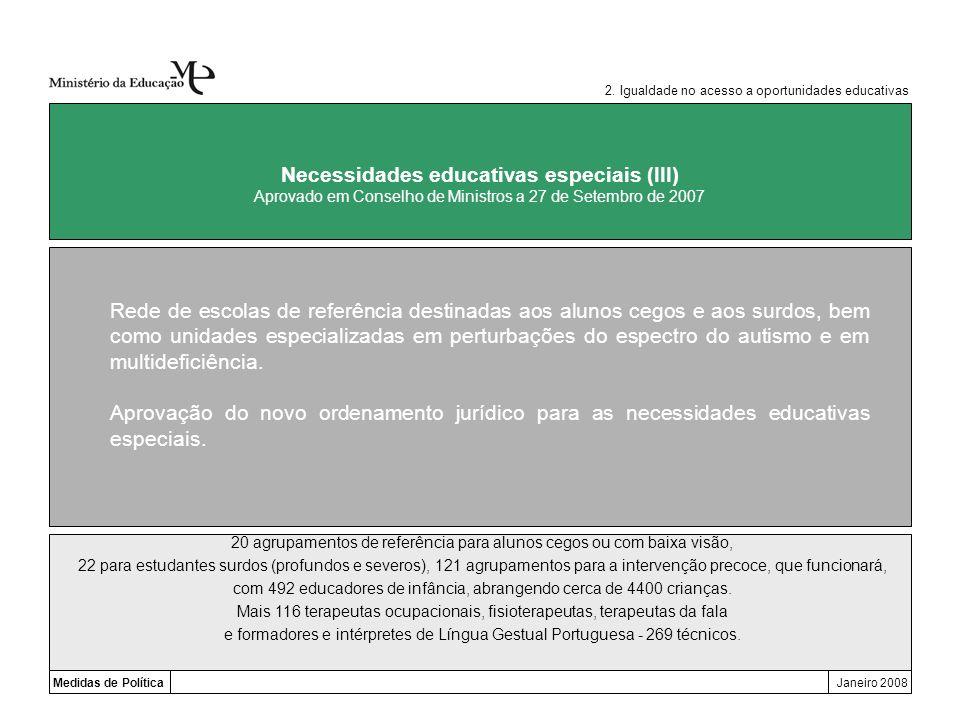 Medidas de PolíticaJaneiro 2008 Necessidades educativas especiais (III) Aprovado em Conselho de Ministros a 27 de Setembro de 2007 Rede de escolas de