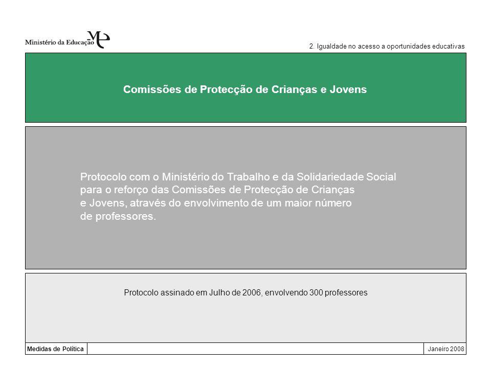Medidas de PolíticaJaneiro 2008 Comissões de Protecção de Crianças e Jovens Protocolo com o Ministério do Trabalho e da Solidariedade Social para o re