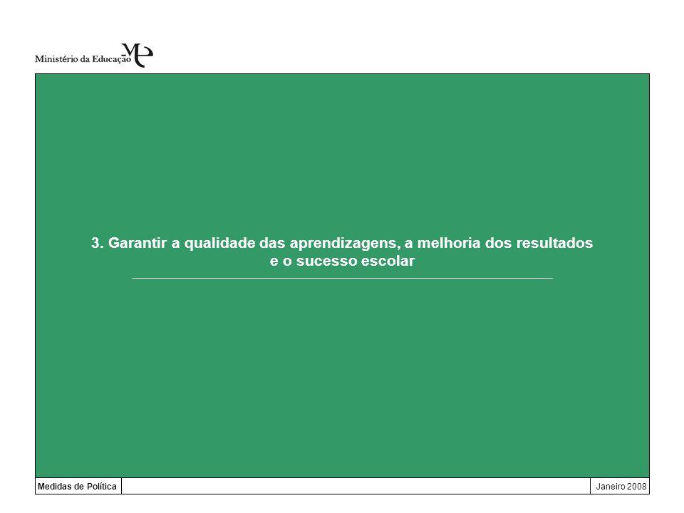 3. Garantir a qualidade das aprendizagens, a melhoria dos resultados e o sucesso escolar Medidas de PolíticaJaneiro 2008