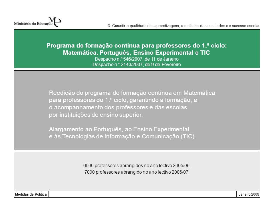 3. Garantir a qualidade das aprendizagens, a melhoria dos resultados e o sucesso escolar Medidas de PolíticaJaneiro 2008 Programa de formação contínua