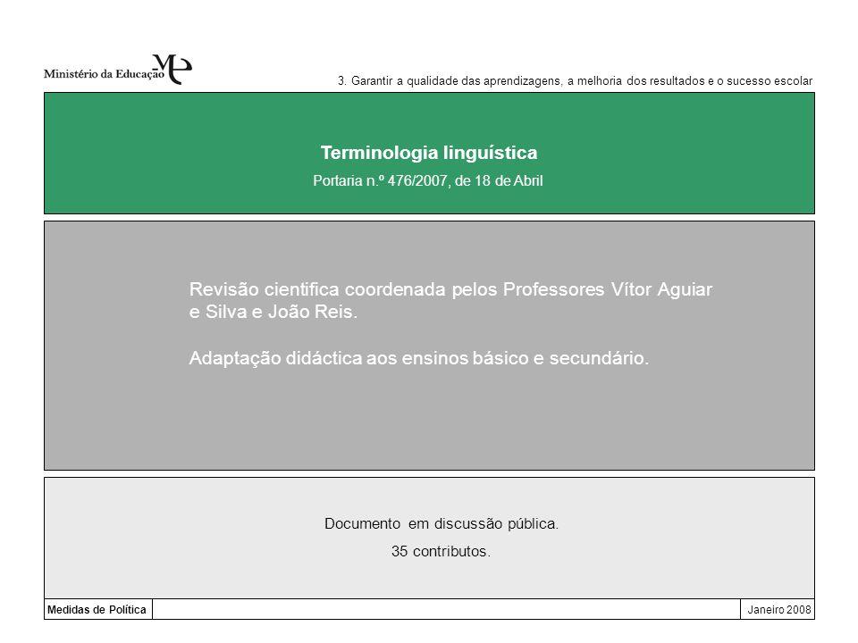 Medidas de PolíticaJaneiro 2008 Terminologia linguística Revisão cientifica coordenada pelos Professores Vítor Aguiar e Silva e João Reis. Adaptação d