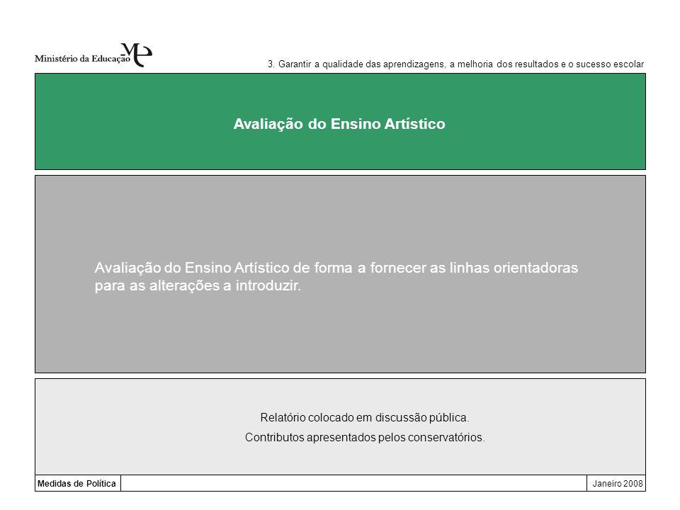 Medidas de PolíticaJaneiro 2008 Avaliação do Ensino Artístico Avaliação do Ensino Artístico de forma a fornecer as linhas orientadoras para as alteraç