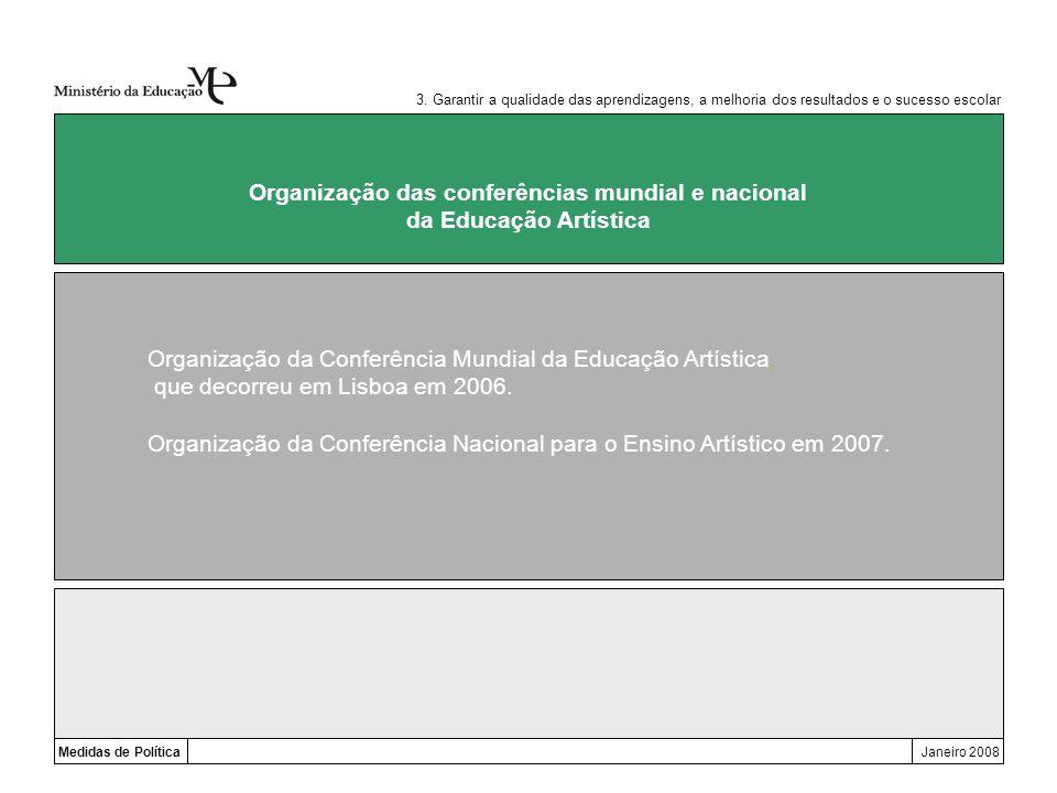 Medidas de PolíticaJaneiro 2008 Organização das conferências mundial e nacional da Educação Artística Organização da Conferência Mundial da Educação A
