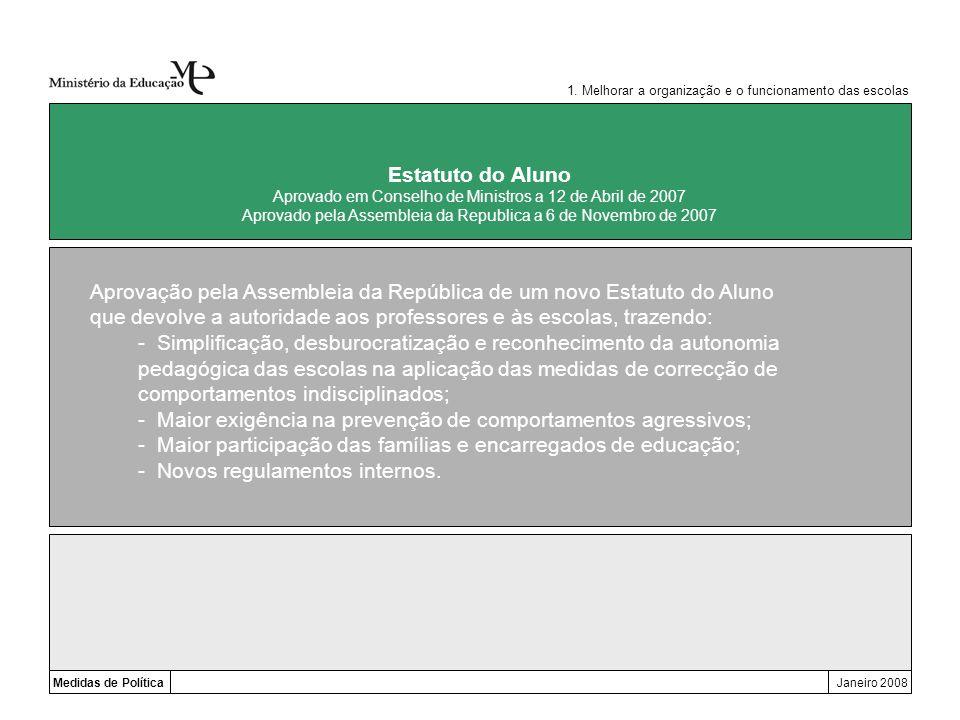 Medidas de PolíticaJaneiro 2008 Estatuto do Aluno Aprovado em Conselho de Ministros a 12 de Abril de 2007 Aprovado pela Assembleia da Republica a 6 de