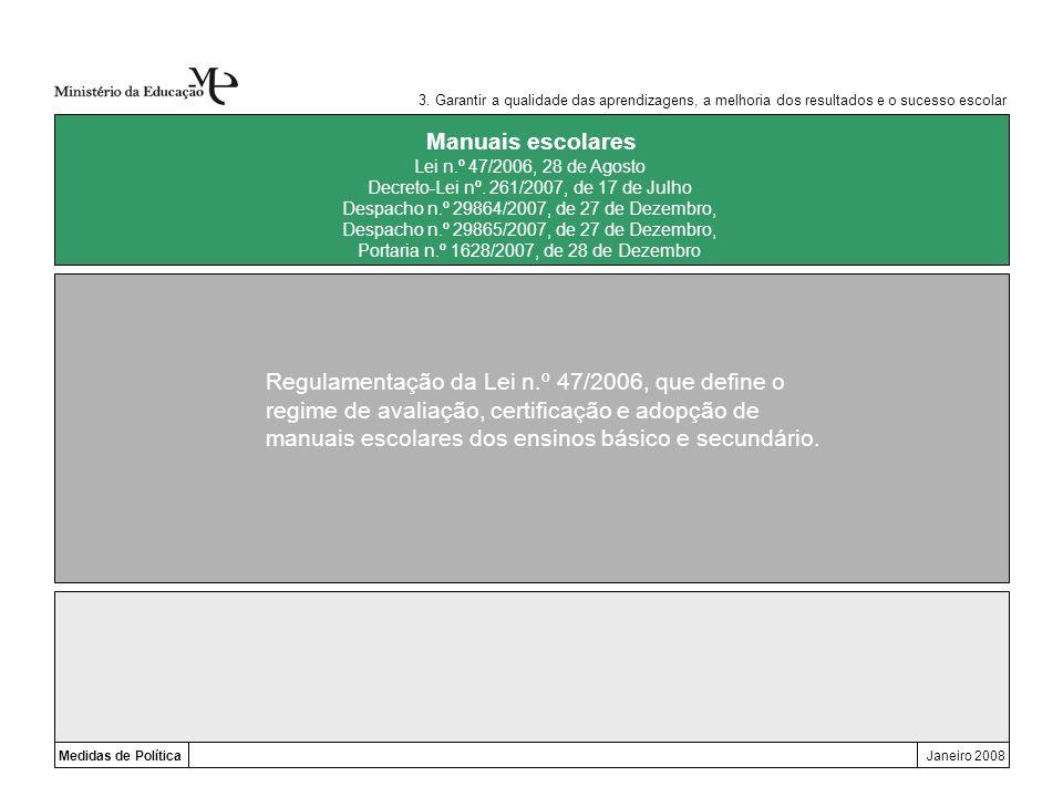 Medidas de PolíticaJaneiro 2008 Manuais escolares Regulamentação da Lei n.º 47/2006, que define o regime de avaliação, certificação e adopção de manua