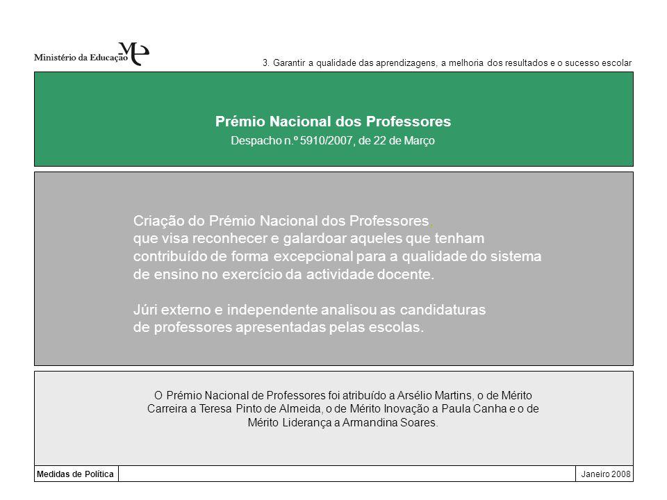 Medidas de PolíticaJaneiro 2008 Prémio Nacional dos Professores 3. Garantir a qualidade das aprendizagens, a melhoria dos resultados e o sucesso escol